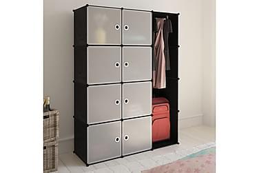 Modulär garderob 9 fack 37 x 115 x 150 cm svart och vit