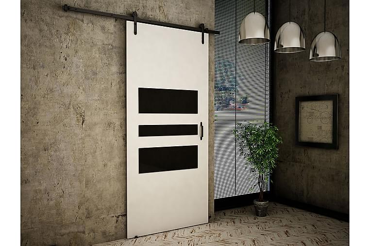 Retro Dörr 200x106x219 cm - Vit/Svart - Möbler - Förvaring - Garderober & garderobssystem