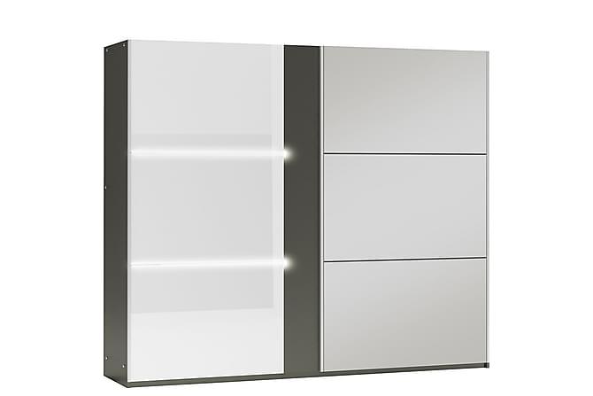 Ryan Garderob 250 cm 2 Skjutdörrar Spegel - Grå - Möbler - Förvaring - Garderober & garderobssystem
