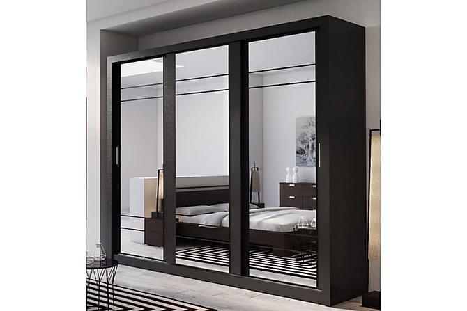 Vesper Garderob 250 cm 3 Skjutdörrar - Svart - Möbler - Förvaring - Garderober & garderobssystem