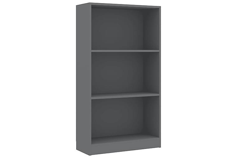 Bokhylla 3 hyllor grå 60x24x108 cm spånskiva - Grå - Möbler - Förvaring - Hylla