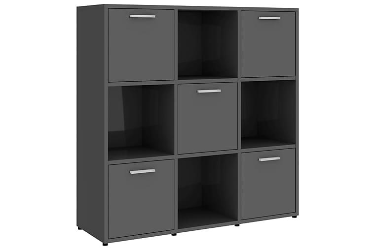 Bokhylla grå högglans 90x30x90 cm spånskiva - Grå - Möbler - Förvaring - Hylla