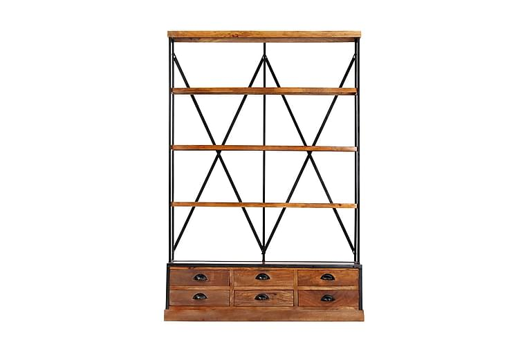 Bokhylla med 4 hyllor och 6 lådor 122x36x181 cm - Brun - Möbler - Förvaring - Hylla