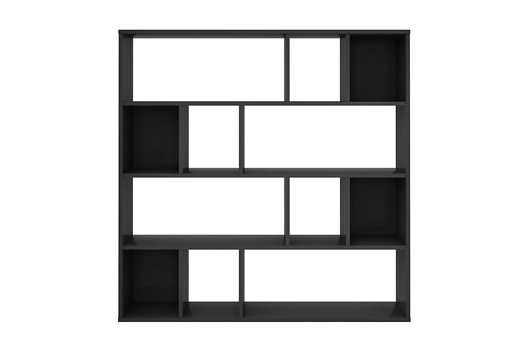 Rumsavdelare/bokhylla högglans svart 110x24x110 cm spånskiva - Svart - Möbler - Förvaring - Hyllor