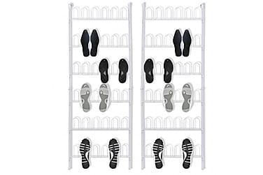 Skohyllor för 18 par skor 2 st stål vit