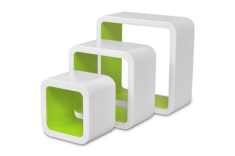 Vägghyllor kub 6 st vit och grön - Röd - Möbler - Förvaring - Hylla