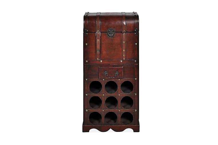 Vinställ med förvaringskista och låda 9 flaskor - Brun - Möbler - Förvaring - Hyllsystem