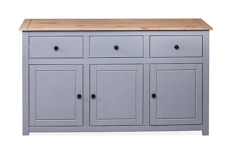Skänk grå 135x40x80 cm massiv furu panama - Grå - Möbler - Förvaring - Sideboard & skänk