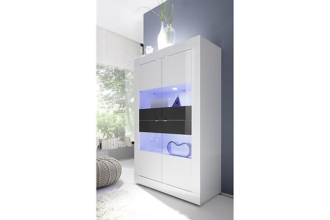 Basic Vitrinskåp 102 cm - Vit/Antracit - Möbler - Förvaring - Vitrinskåp