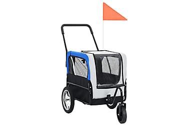 2-i-1-Cykelvagn för husdjur och joggingvagn grå och blå