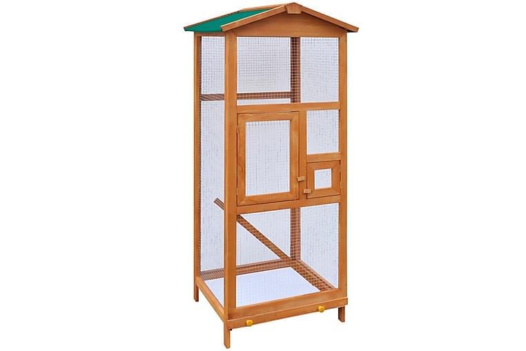 Fågelbur trä 65x63x165 cm - Brun - Möbler - Husdjursmöbler - Burar & transportburar