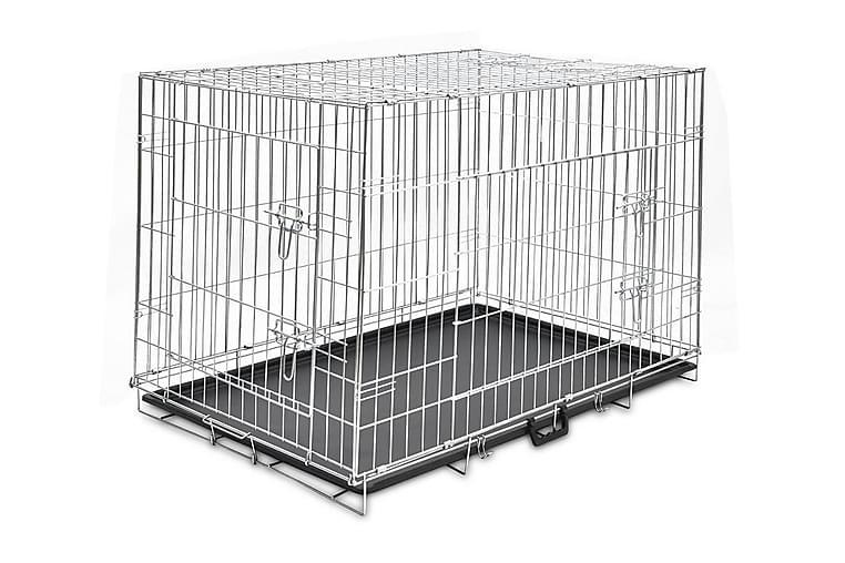 Hopfällbar hundbur XL metall - Svart - Möbler - Husdjursmöbler - Burar & transportburar