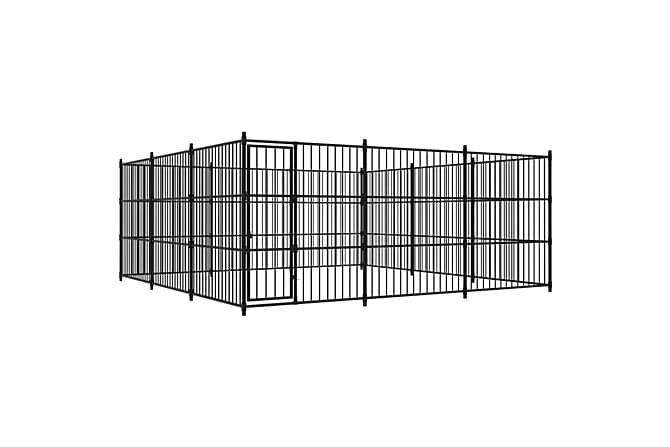 Hundgård för utomhusbruk 450x450x185 cm - Svart - Möbler - Husdjursmöbler - Burar & transportburar