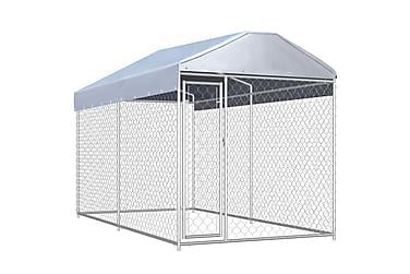 Hundgård för utomhusbruk med tak 382x192x235 cm