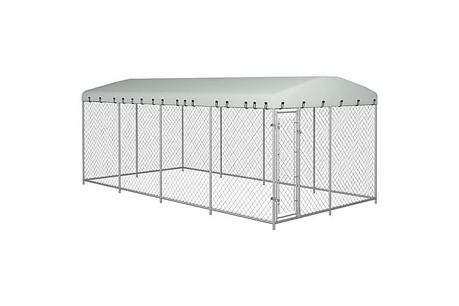 Hundgård med tak för utomhusbruk 8x4x2 m - Silver - Möbler - Husdjursmöbler - Burar & transportburar