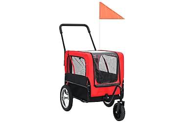 2-i-1-Cykelvagn för husdjur och joggingvagn röd och svart