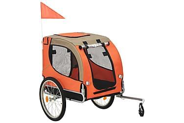 Cykelvagn för hund orange och brun