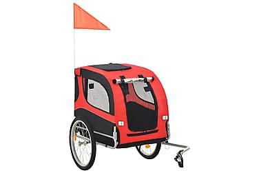 Cykelvagn för hund röd och svart
