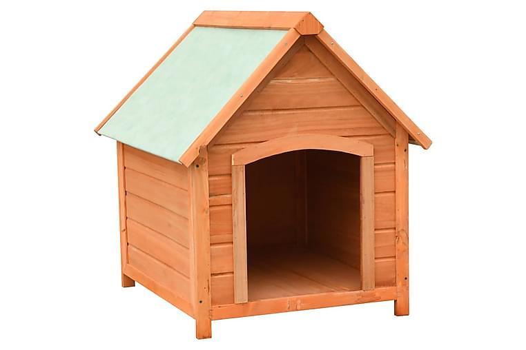 Hundkoja massiv furu & granträ 72x85x82 cm - Brun - Möbler - Husdjursmöbler - Hundmöbler