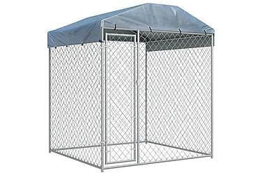 Hundgård för utomhusbruk med tak 2x2x2,1 m