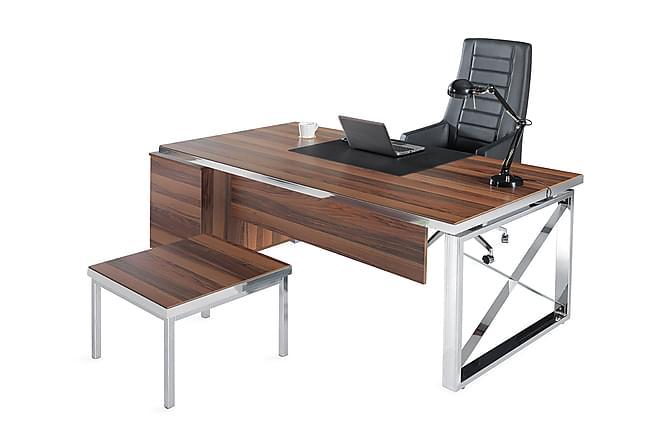 Hurstley Kontorsmöbelset 225 cm - Valnöt|Silver - Möbler - Möbelset - Möbelset för kontor