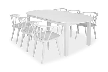 Bella Matgrupp 160 cm Oval med 6 Bianca Stol