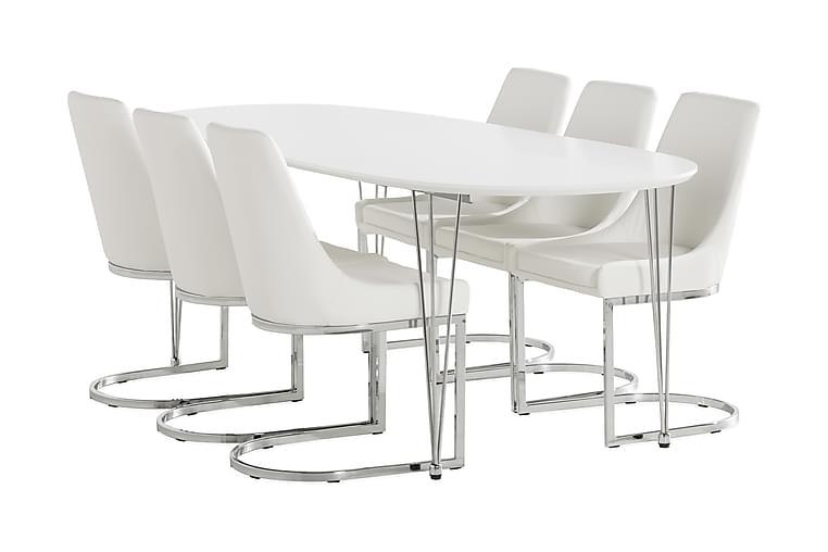Caddy Matgrupp 180 cm +2 Tilläggsskivor + 6 Efferarvet Stol - Vit/Krom - Möbler - Matgrupper - Oval matgrupp