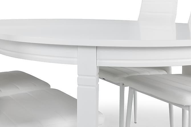Läckö Förlängningsbar Matgrupp 150 cm med 4 Ted Stol - Vit - Möbler - Matgrupper - Oval matgrupp