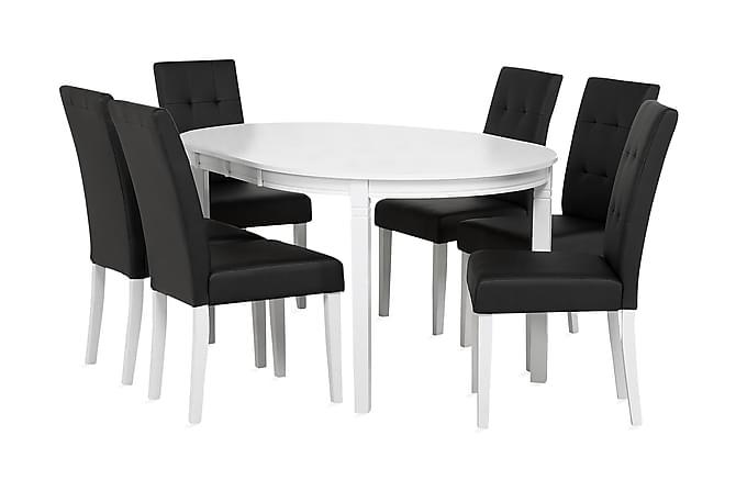Läckö Förlängningsbar Matgrupp 150 cm Oval + 6 Viktor Stol - Vit/Svart - Möbler - Matgrupper - Oval matgrupp