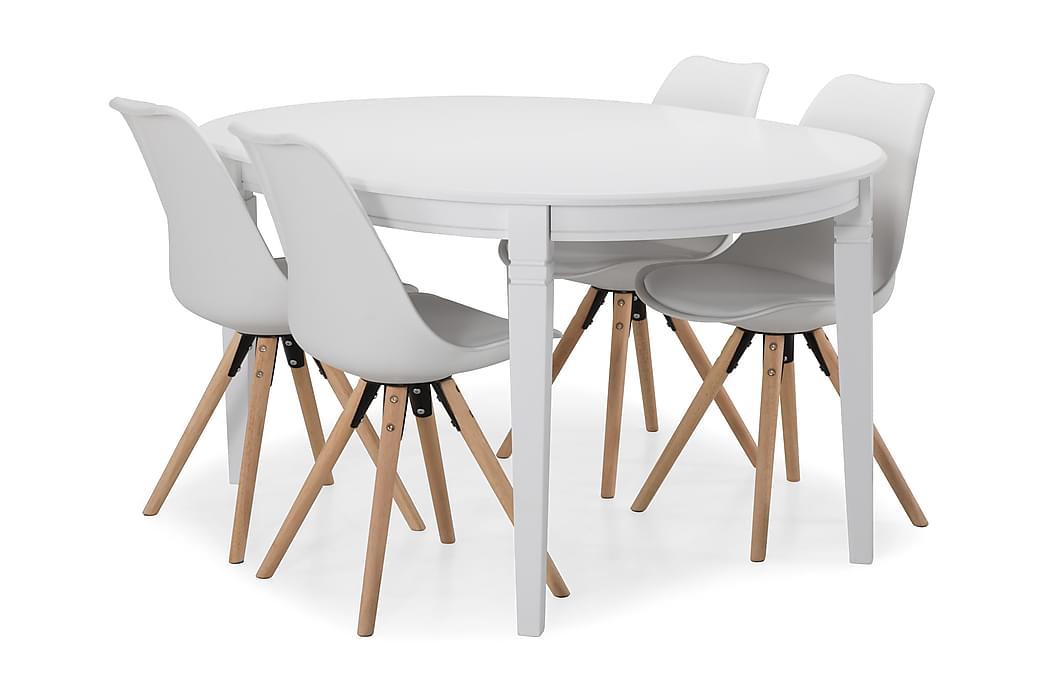 Läckö Förlängningsbart Matbord 150 cm Ovalt - Vit/Beige - Möbler - Matgrupper - Oval matgrupp