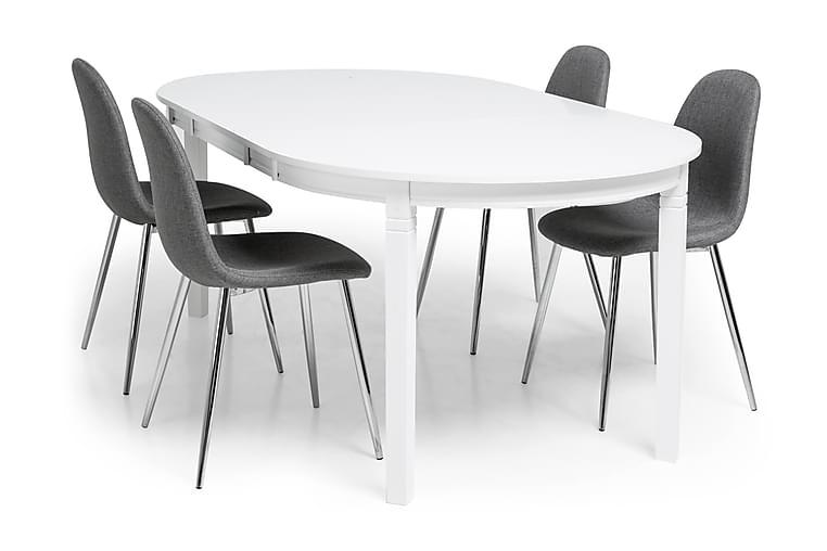 Läckö Matgrupp med 4 st Nibe Stolar - Vit/Grå/Krom - Möbler - Matgrupper - Oval matgrupp