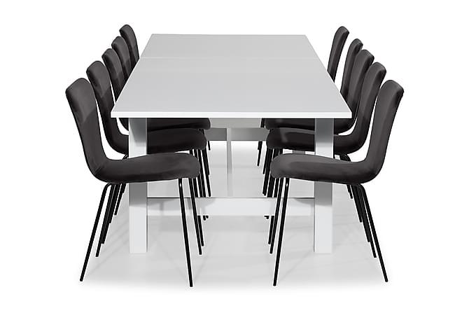Altea Matgrupp Förlängningsbar 240 cm med 10 Perco Stol Samm - Vit/Grå - Möbler - Matgrupper - Rektangulär matgrupp