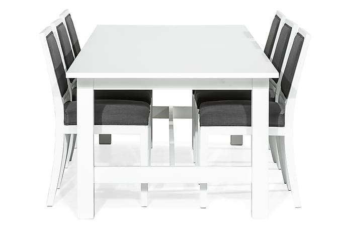 Altea Matgrupp Förlängningsbar 240 cm med 6 Frank Stol - Vit/Grå - Möbler - Matgrupper - Rektangulär matgrupp