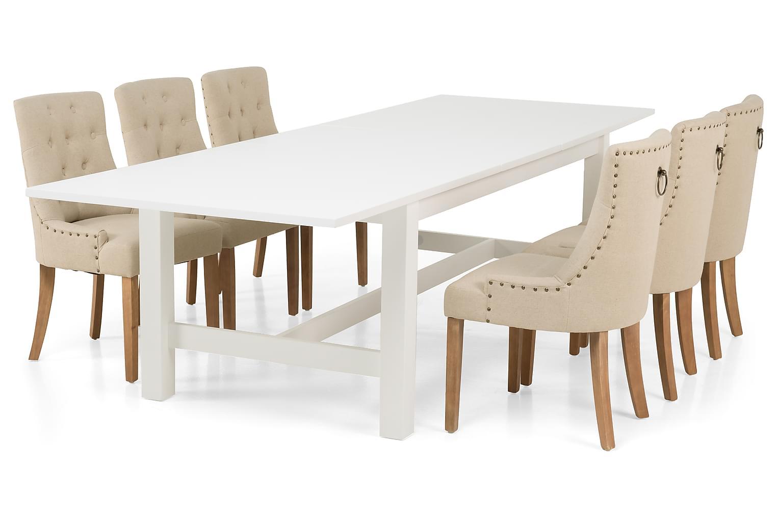 ALLIE Pöytä 240/300 Valkoinen + 6 COLFAX Nojatuolia Beige