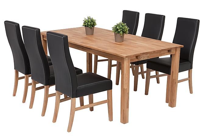 Anja Förlängningsbar Matgrupp med 6 Mazzi Stol - Ek Svart PU - Möbler -  Matgrupper dba45d6251e61