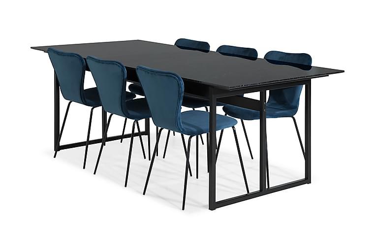 Carrie Matgrupp Marmor med 6 Perco Stol - Svart/Blå - Möbler - Matgrupper - Rektangulär matgrupp