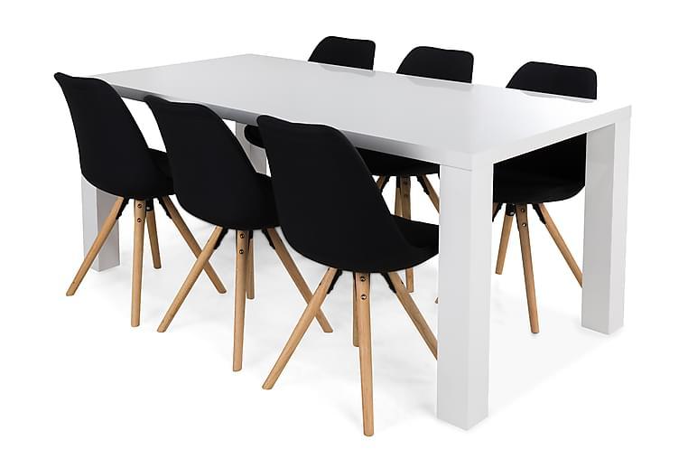 Cibus Matgrupp med 6 st Forum Stol - Vit/Mörkgrå - Möbler - Matgrupper - Rektangulär matgrupp