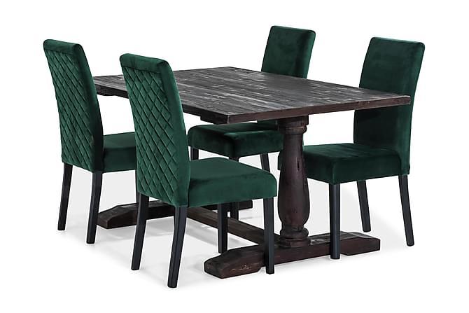 Dijon Matgrupp 160 cm med 4 st Mazzi Stol - Trä/Grön - Möbler - Matgrupper - Rektangulär matgrupp