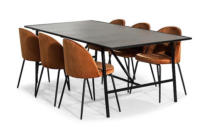 Dipali Matgrupp med 6 Felipe Stol Sammet - Orange/Svart - Möbler - Matgrupper - Rektangulär matgrupp
