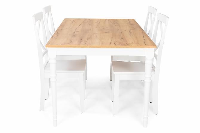 Erin Förlängningsbar Matgrupp 160 cm med 4 Hudson Stol - Trä/Vit - Möbler - Matgrupper - Rektangulär matgrupp