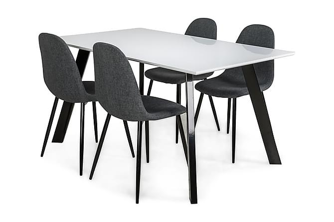 Fly Matgrupp 150 cm med 4 Nibe Stol - Vit/Svart/Grå - Möbler - Matgrupper - Rektangulär matgrupp