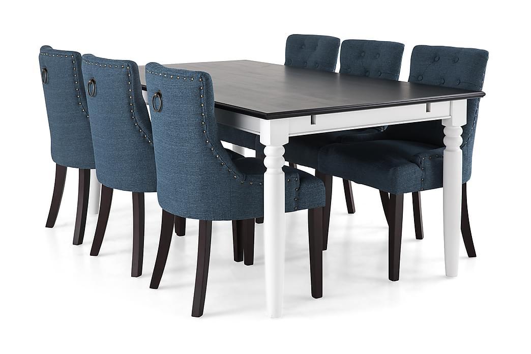 Hampton Matgrupp 190 cm med 6 Viktoria Fåtölj - Mahogny/Vit/Blå - Möbler - Matgrupper - Rektangulär matgrupp