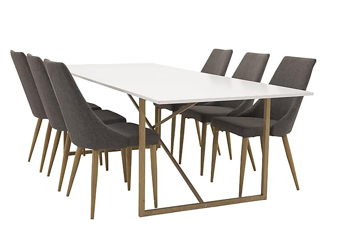 Heily Matgrupp 240 cm med 6 Ludvig Stol - Vit/Ek/Mörkgrå - Möbler - Matgrupper - Rektangulär matgrupp
