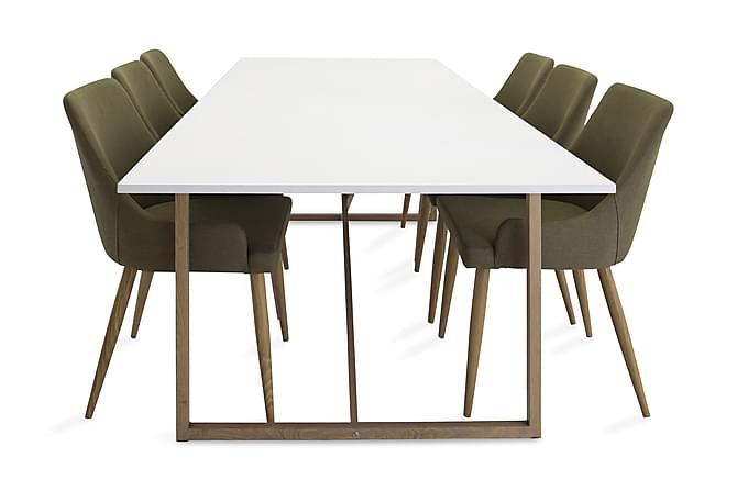 Heily Matgrupp 240 cm med 6 Pelle Stol - Vit/Ek/Grön - Möbler - Matgrupper - Rektangulär matgrupp