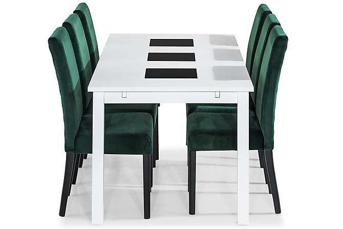Jasmin Matgrupp 180 cm med 6 st Mazzi Stol - Vit/Grön - Möbler - Matgrupper - Rektangulär matgrupp