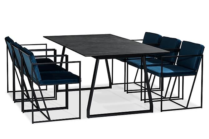 Kaj Matgrupp 200 cm med 6 Indy Stol - Svart/Vit/Blå - Möbler - Matgrupper - Rektangulär matgrupp