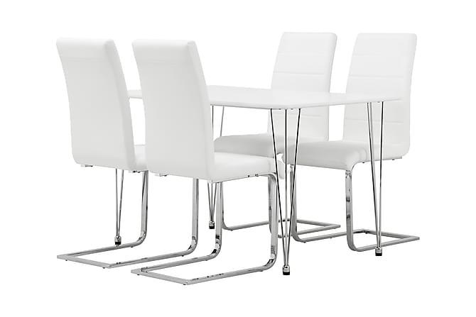 Leia Bord 120 + 4 Remus Stol Vit - Möbler - Matgrupper