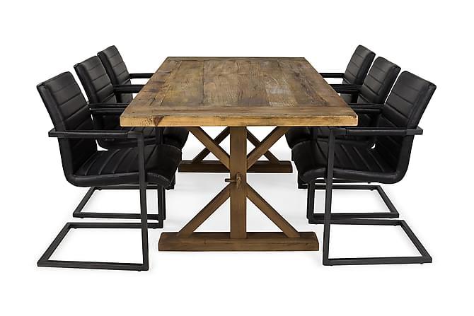 Lyon Förlängningsbar Matgrupp 200 cm med 6 House Stol - Natur/Svart - Möbler - Matgrupper - Rektangulär matgrupp