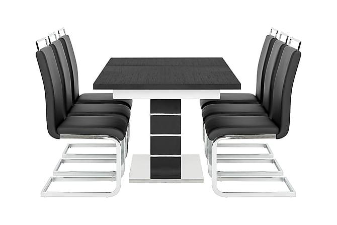 Macahan Bord 140 + 6 Isoda Stol - Svart/Vit - Möbler - Matgrupper - Rektangulär matgrupp