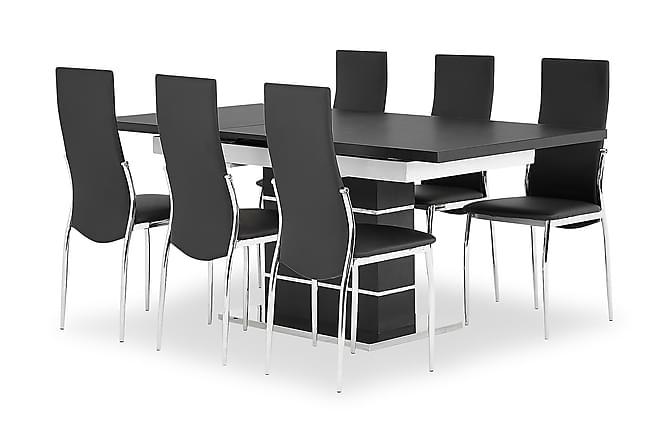 Macahan Matgrupp 140 cm med 6 Wyeth Stol - Svart/Vit - Möbler - Matgrupper - Rektangulär matgrupp